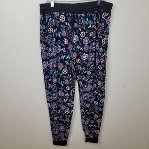 See Plus Orange Green Floral on Navy Joggers 3XL